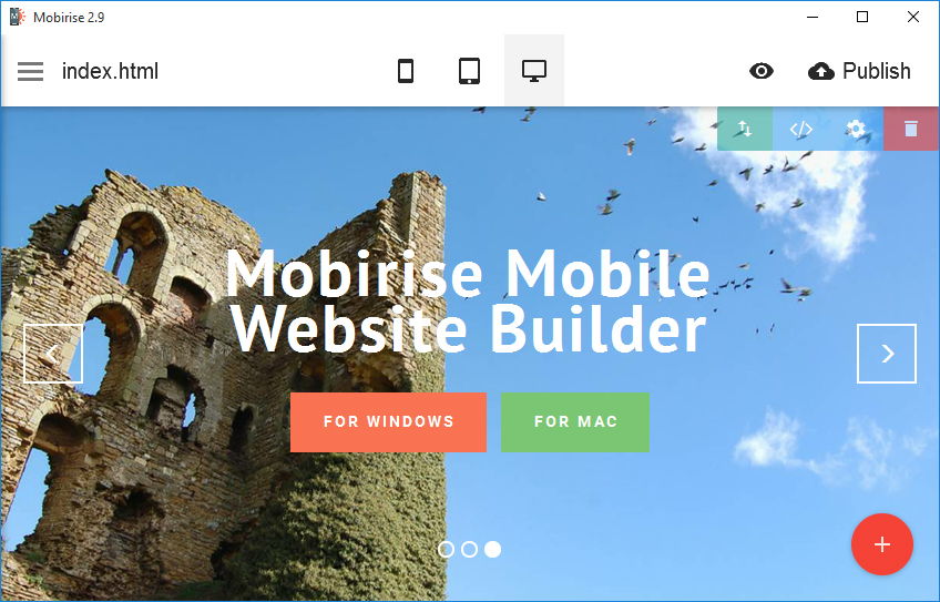 Moreover, you can insert a video background on your site using Mobirise mobile website design builder.