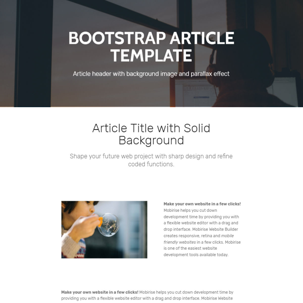 Free Download Bootstrap  Article  Templates