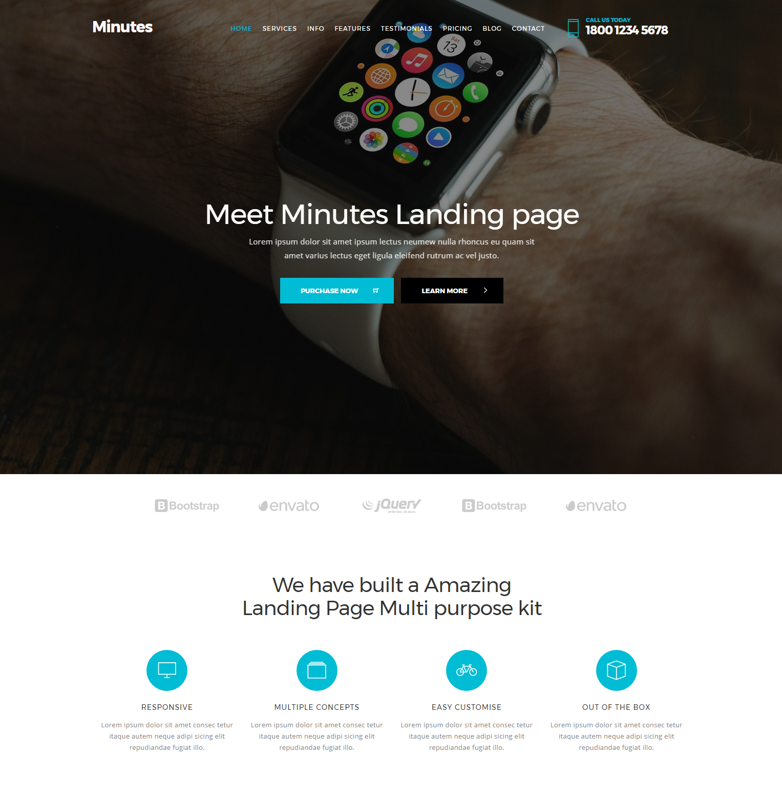 Minutes Landing Bootstrap Page
