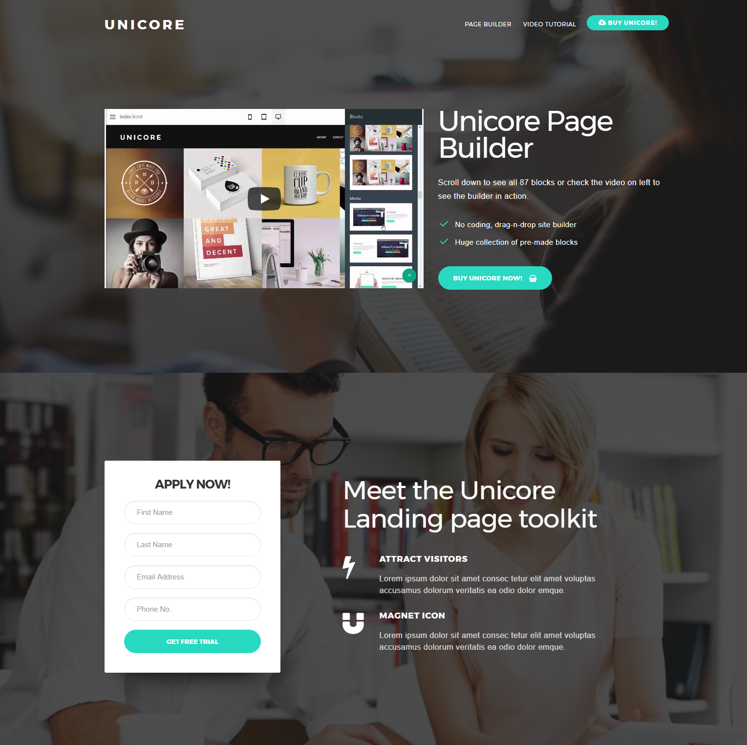 Unicore Page Bootstrap Builder