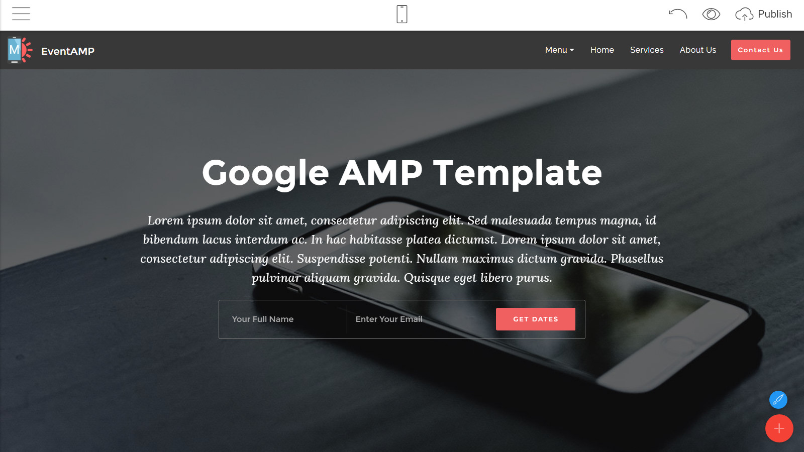 google amp template