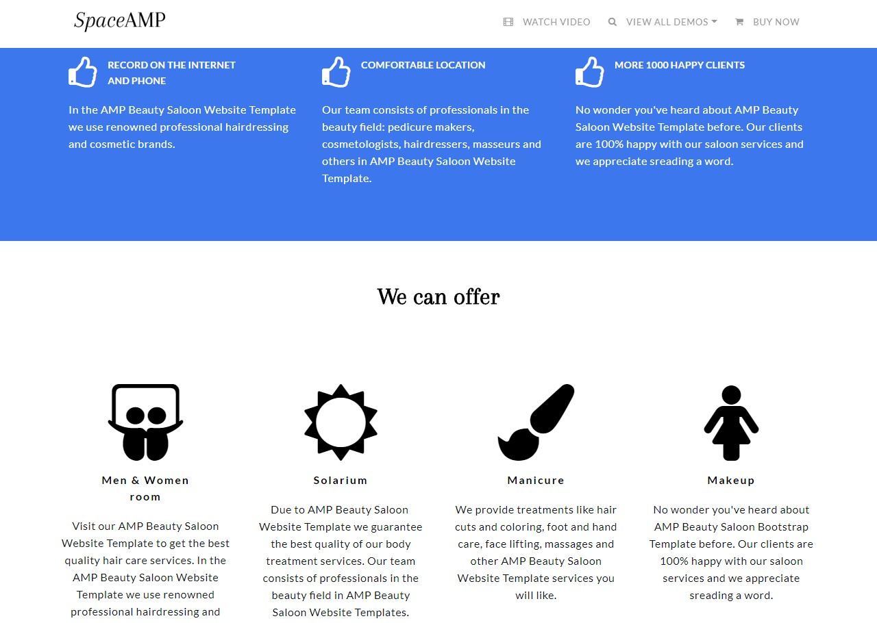 AMP Beauty Saloon Website Template
