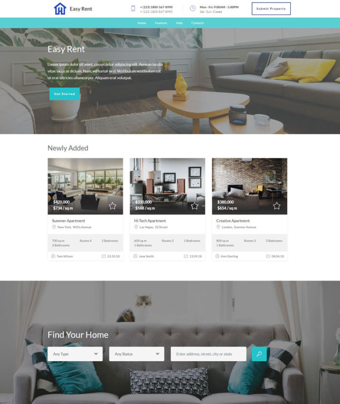 Rent Real Estate Website Templates