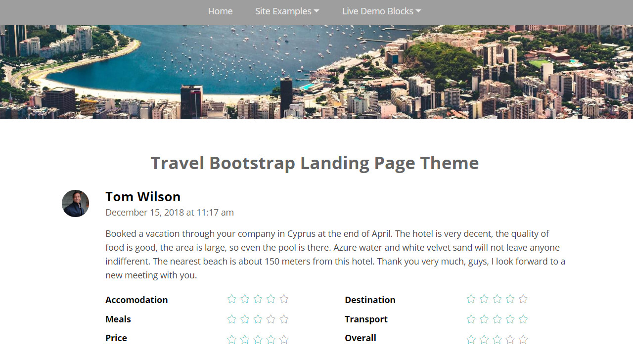 Travel Bootstrap Landing Page Theme