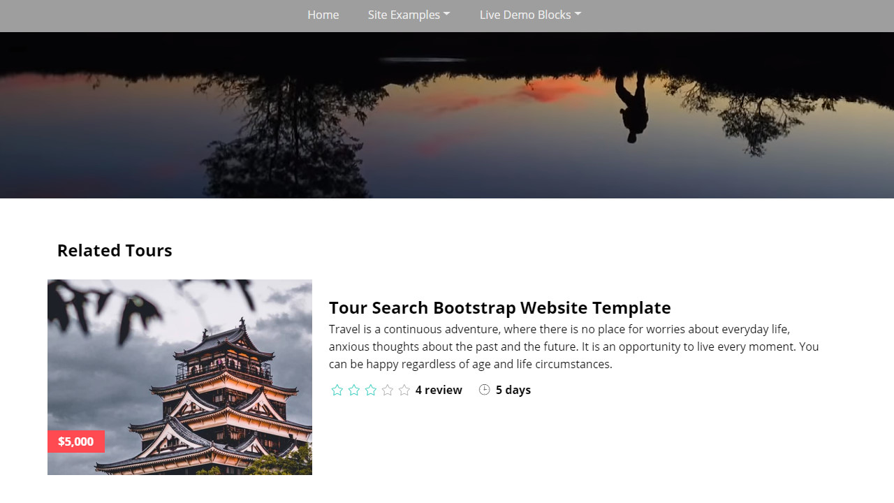 Tour Search Bootstrap Website Template