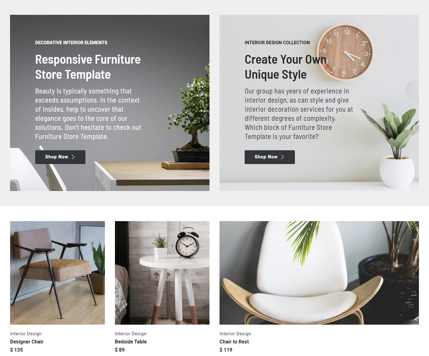 Responsive Furniture Store Template