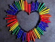 Love Heart With Rainbow Crayons
