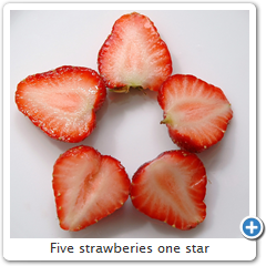 Five strawberies one star
