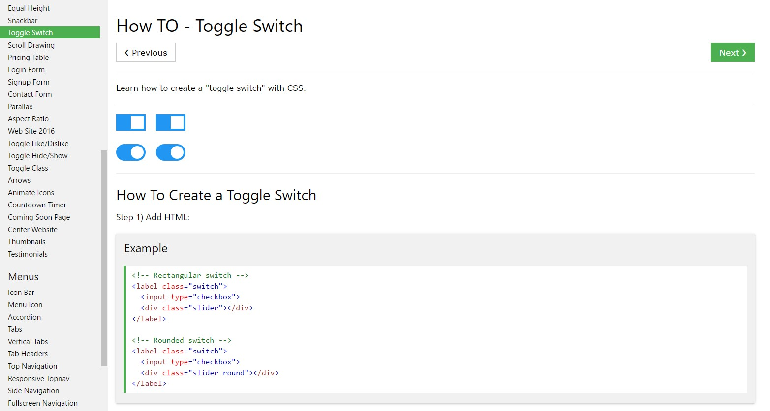 Tips on how to  generate Toggle Switch