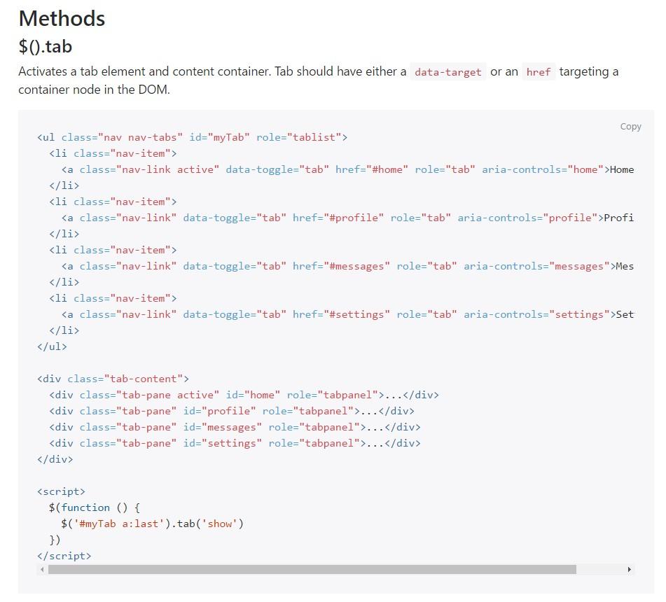 Bootstrap Nav-tabs: main  information