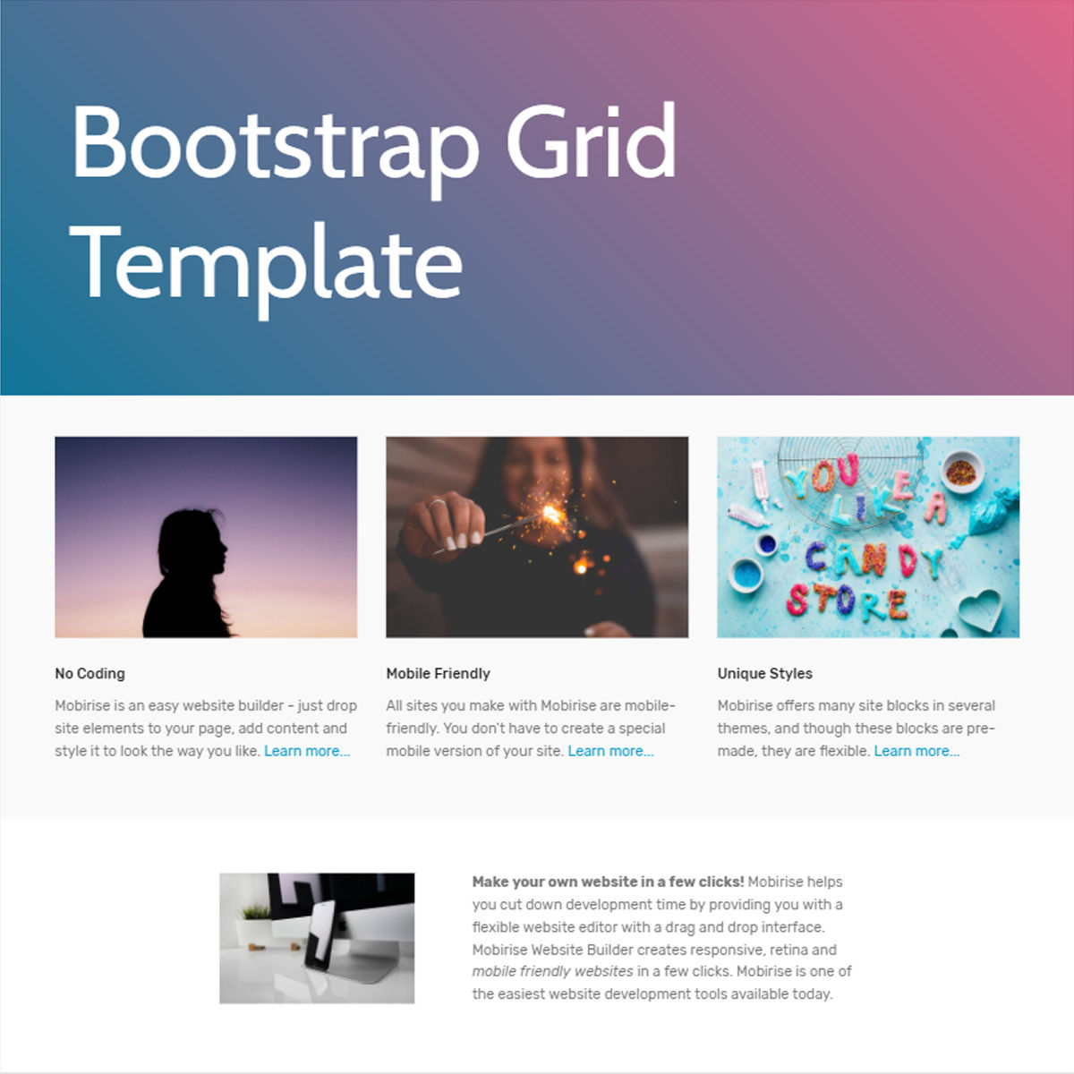 CSS3 Bootstrap  Grid  Templates