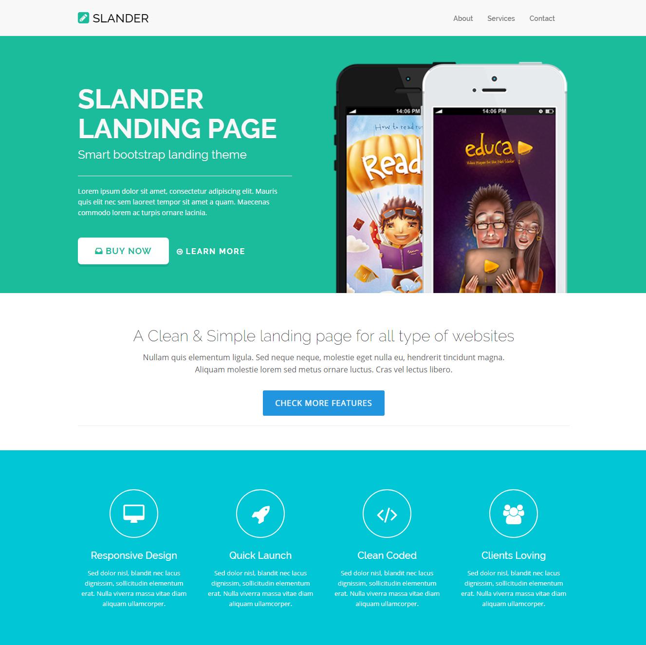 Slander Bootstrap Landing Page