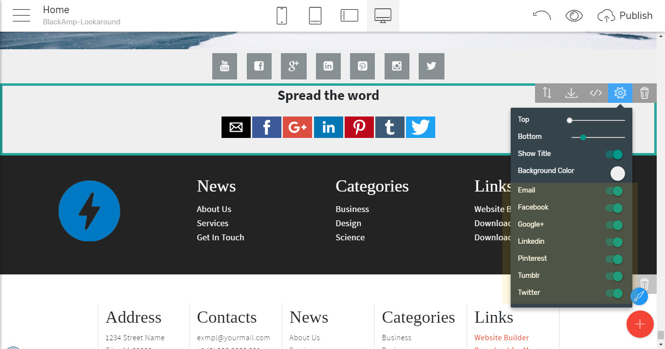 simple HTML website template share blocks in blackamp