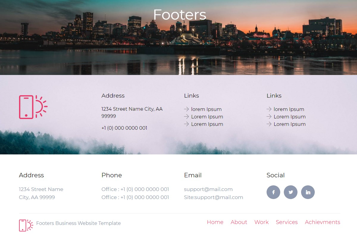 Mobile-friendly Footer HTML Template