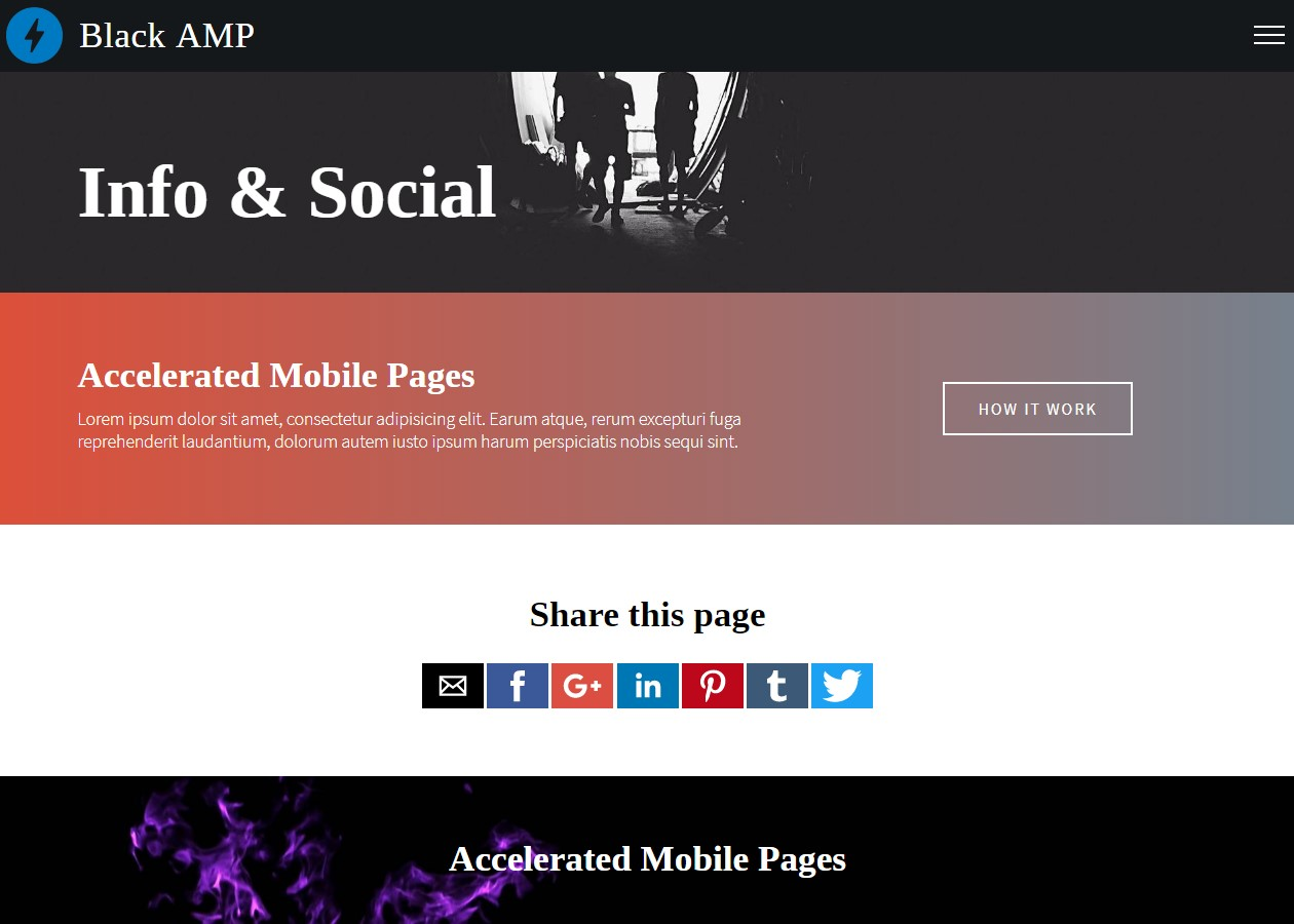 AMP HTML Info and Socials Template