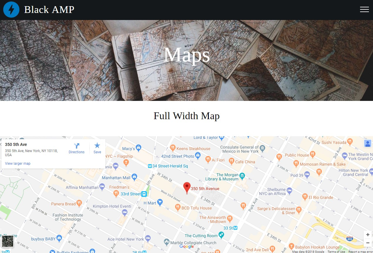 AMP HTML Maps Template