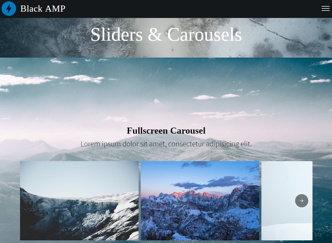 AMP HTML Sliders and Carousels Template
