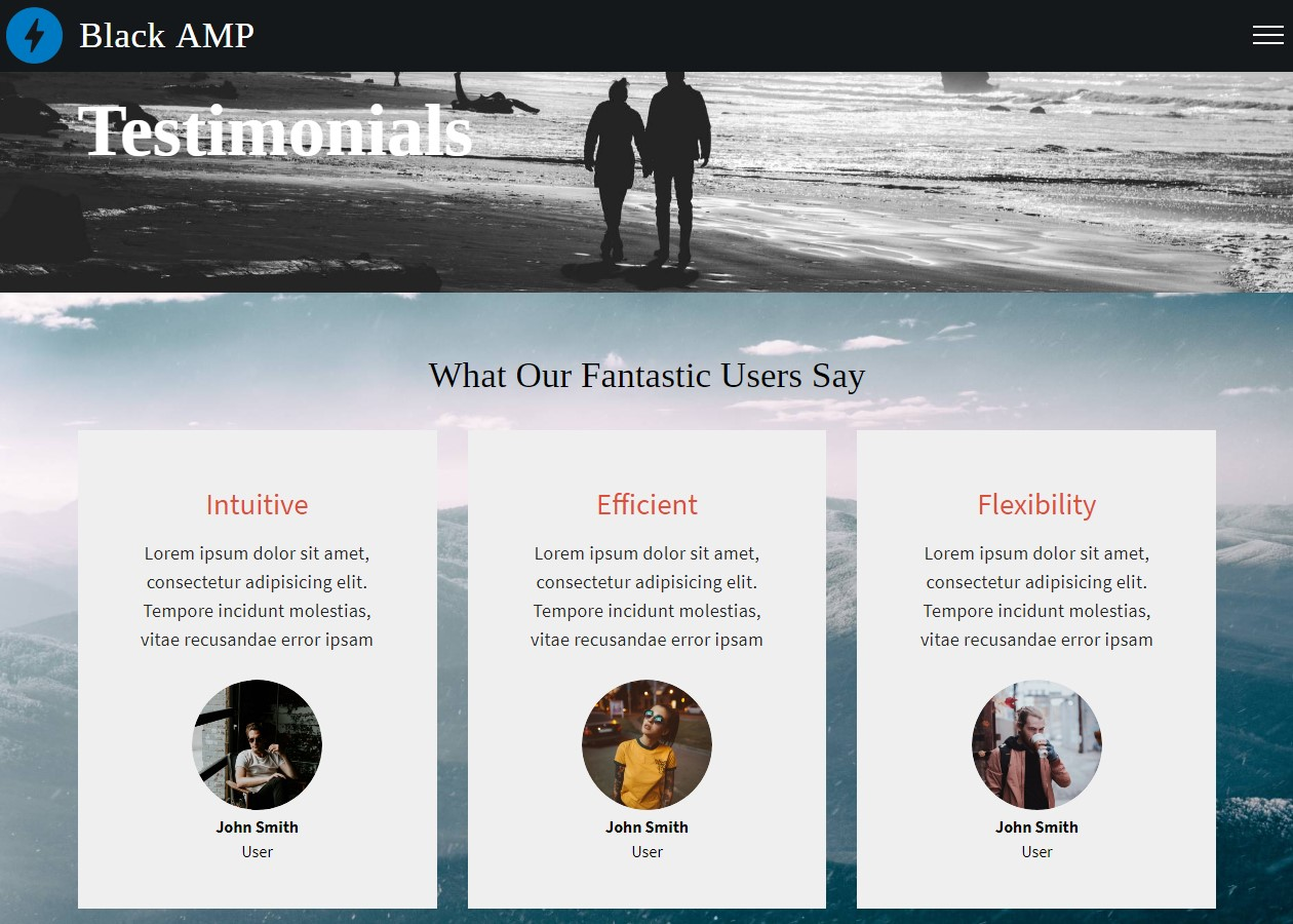 AMP HTML Testimonials Template