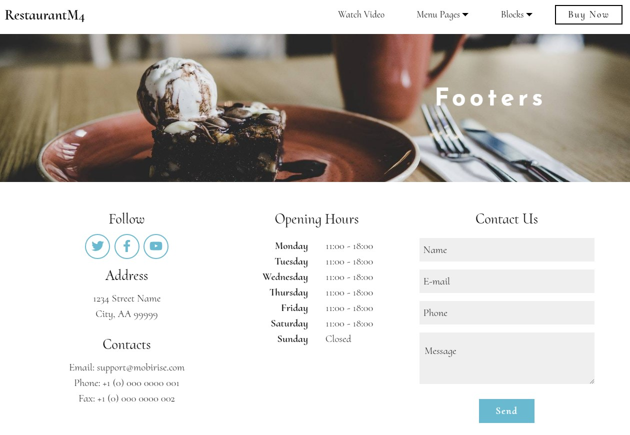 Best Bootstrap HTML Restaurant Footers
