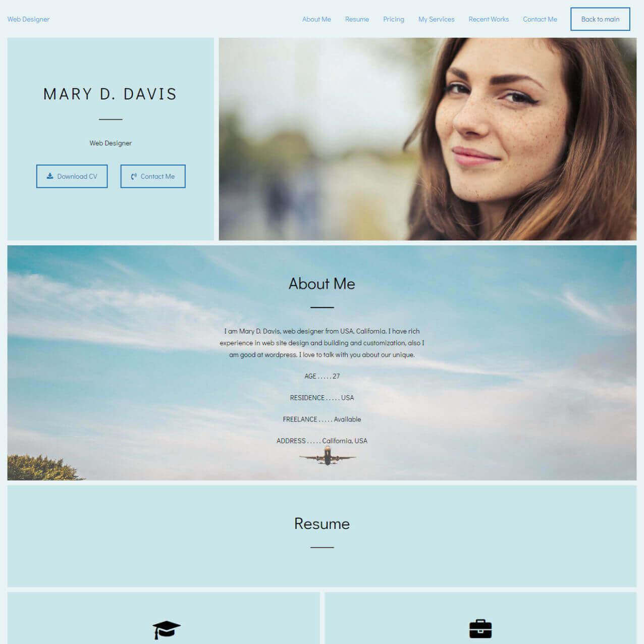 Web Designer Portfolio Website Templates